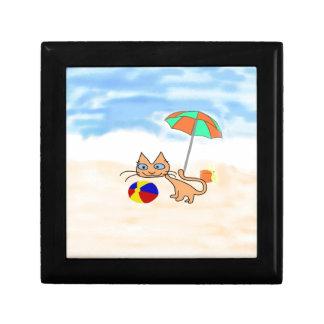 Un gato con los juguetes en la playa cajas de regalo