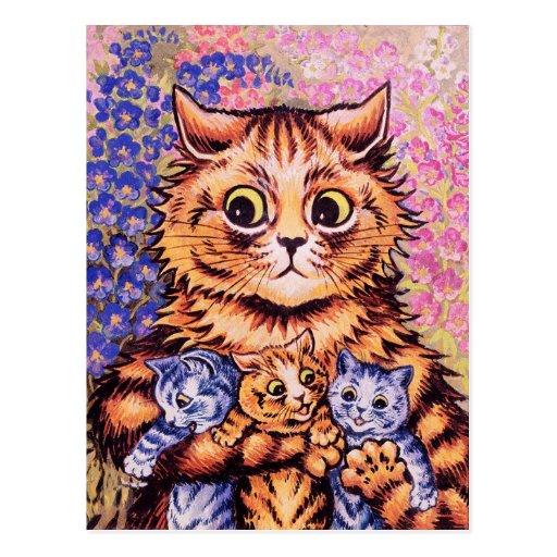 Un gato con sus gatitos de Louis Wain Postal