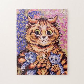 Un gato con sus gatitos puzzle