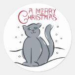 Un gato de las Felices Navidad Etiquetas Redondas
