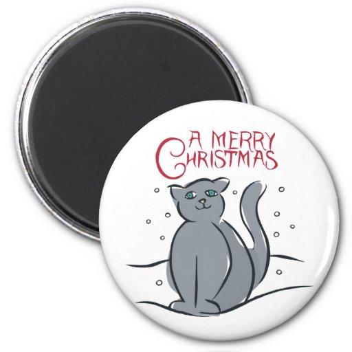 Un gato de las Felices Navidad Iman Para Frigorífico