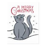 Un gato de las Felices Navidad Tarjetas Postales