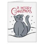 Un gato de las Felices Navidad Tarjetón