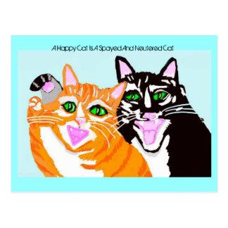 Un gato feliz es un gato Spayed y neutralizado Tarjetas Postales