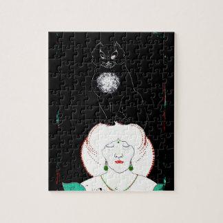 Un gato negro en su cabeza puzzles