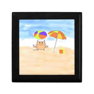 Un gato que se divierte en la playa caja de joyas