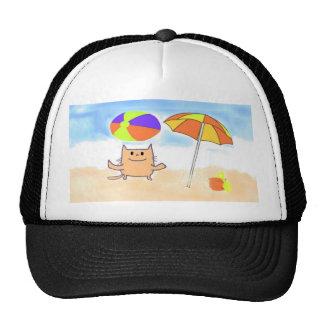Un gato que se divierte en la playa gorros bordados