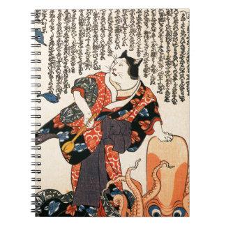 Un gato vestido como mujer que golpea ligeramente cuadernos