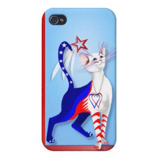 Un gato y una estrella americanos s iPhone 4 cárcasas
