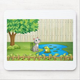 Un gato y una rana dentro de la cerca tapete de raton