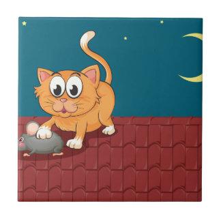 Un gato y una rata en el tejado azulejo cuadrado pequeño