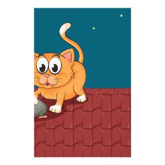 Un gato y una rata en el tejado  papeleria
