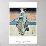 Un geisha en un paseo de la tarde por Utagawa, Toy Poster