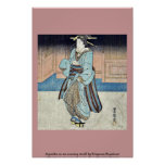 Un geisha en un paseo de la tarde por Utagawa, Toy Impresiones
