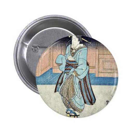 Un geisha en un paseo de la tarde por Utagawa, Toy Pin