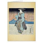 Un geisha en un paseo de la tarde por Utagawa, Toy Felicitación