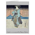 Un geisha en un paseo de la tarde por Utagawa, Toy Tarjeton