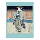 Un geisha en un paseo de la tarde por Utagawa, Toy Tarjetas Postales
