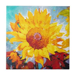 Un girasol amarillo artsy azulejo cuadrado pequeño