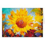 Un girasol amarillo artsy tarjetas