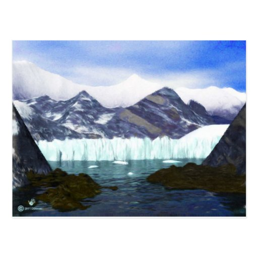 Un glaciar resuelve el mar tarjeta postal