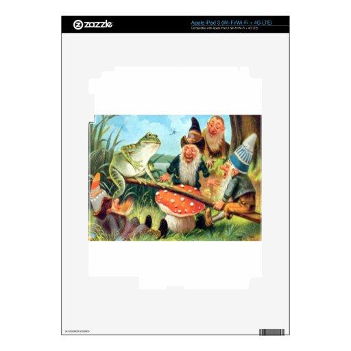 Un gnomo y una rana en una oscilación de la seta pegatina skin para iPad 3