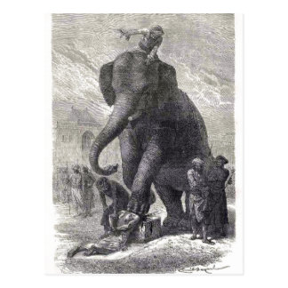 Un grabar en madera de un elefante de la ejecución postal