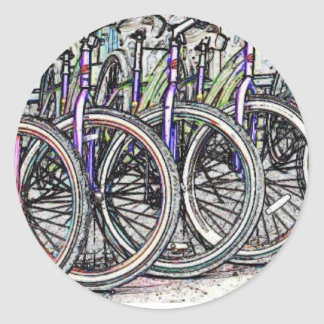 Un gran diseño de la bici pegatina redonda
