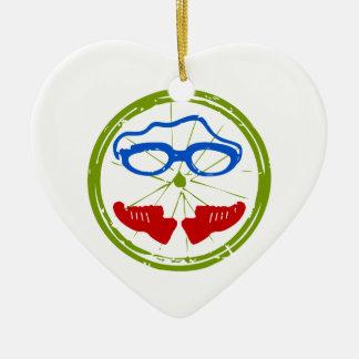 Un gran regalo del Triathlon para su amigo o Adorno De Cerámica En Forma De Corazón