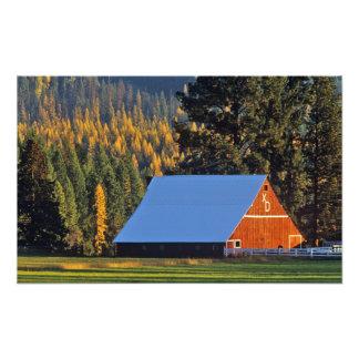 Un granero rojo cultivado construyó en 1911 cerca  impresiones fotográficas