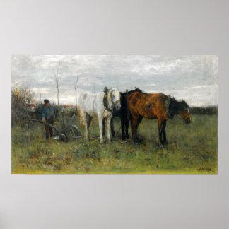 Un granjero de arado póster