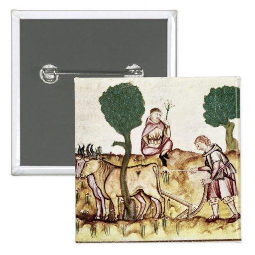 Un granjero que enseña a su hijo a arar un campo pin cuadrado