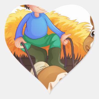 Un granjero que monta un carro con un pollo sobre calcomania corazon