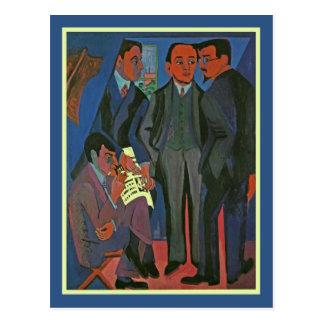 Un grupo de artistas de Ernst Ludwig Kirchner Postal