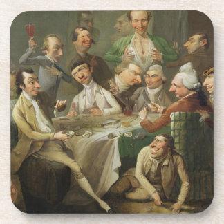 Un grupo de la caricatura, c.1776 (aceite en lona) posavasos de bebida