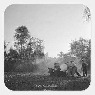 Un grupo de torsión mexicana de los toreros de los calcomanía cuadradas