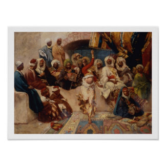 Un grupo interesado, 1883 (aceite en lona) póster