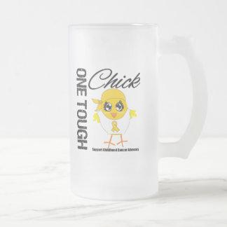 Un guerrero duro del cáncer de la niñez del pollue taza de café