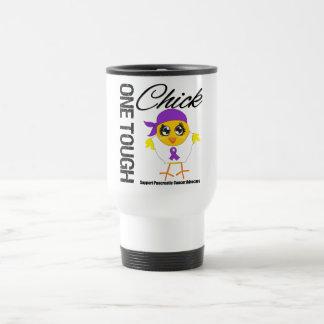Un guerrero duro del cáncer pancreático del pollue taza de café