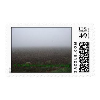 un herron azul holandés que se escapa en la niebla sellos