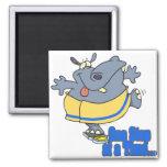 un hipopótamo de dieta divertido del paso a la vez imán de frigorifico