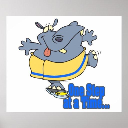 un hipopótamo de dieta divertido del paso a la vez posters
