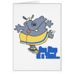 un hipopótamo de dieta divertido del paso a la vez felicitaciones