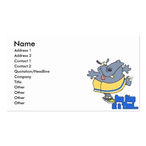 un hipopótamo de dieta divertido del paso a la vez tarjetas de visita