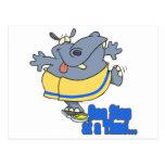 un hipopótamo de dieta divertido del paso a la vez postal