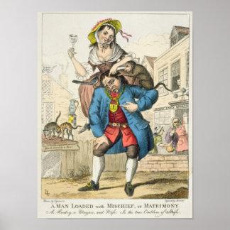 Un hombre cargó con travesura, o el matrimonio, c. póster