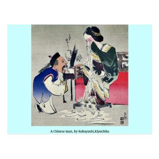 Un hombre chino, por Kobayashi, Kiyochika Postales