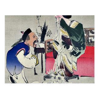 Un hombre chino, por Kobayashi, Kiyochika Tarjetas Postales