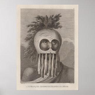 Un hombre de las islas de bocadillo en una máscara póster