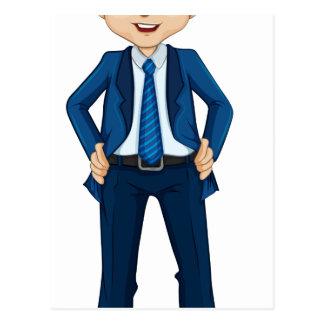 Un hombre de negocios sonriente con una corbata de tarjeta postal
